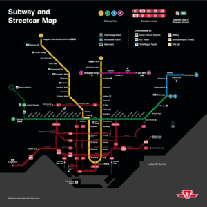 A map of the Toronto public transit stops.